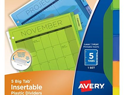 Avery Big Tab Insertable Plastic Dividers , 5 Multicolor Tabs, Case Pack of 24 11900