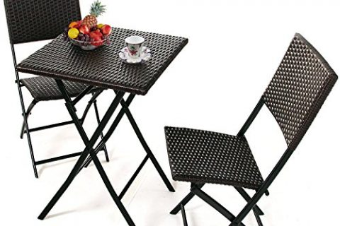 PATIOROMA 3 PCS Outdoor Wicker Rattan Steel Folding Table and Chairs Bistro Set, Rich Textured Espresso Brown