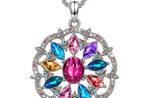 QIANSE Love in Curacao Multicoloured Round Pendant Necklace Swarovski Crystals Fashion Jewelry for Women Christmas Gifts Anniversary Gifts Birthday Gifts for Women Girls Gifts for Girlfriend Daughter
