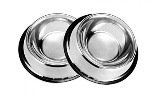 PetCee Dog Bowls Stainless Steel,with Anti-slip Rubber Base Feeder Bowls for Dogs10 OZ, set of 2