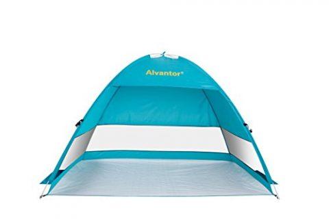 Beach Tent CoolHut Plus Beach Umbrella Sun Shelter Instant Portable Cabana Shade Outdoor Pop Up Anti-UV 50+ Lightest & Most Stable Easyup By Alvantor