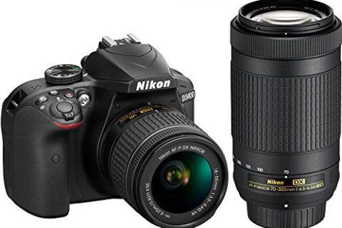 Nikon D3400 24.2MP DSLR Camera with AF-P 18-55 VR and 70-300m Lenses 1573B – Certified Refurbished