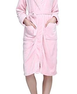 Urban CoCo Women's Super Plush Microfiber Fleece Bathrobe Robe with Side Pockets M, Pink-series 2