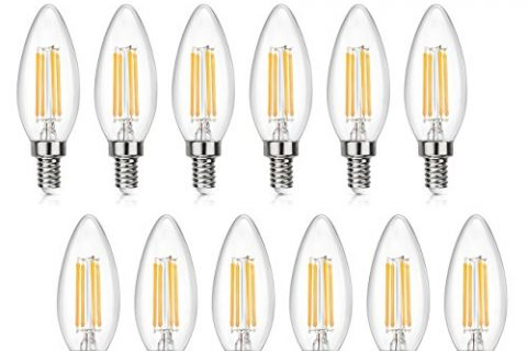 SHINE HAI Candelabra LED Filament Bulbs Dimmable 40W Equivalent, 2700K Chandelier B11 LED Bulb E12 Base Decorative Candle Light Bulb 12-Pack
