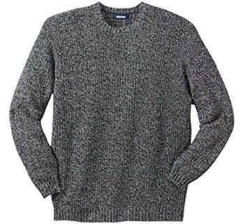 Kingsize Men's Big & Tall Shaker Knit Crewneck Sweater, Black Marl Big-4Xl