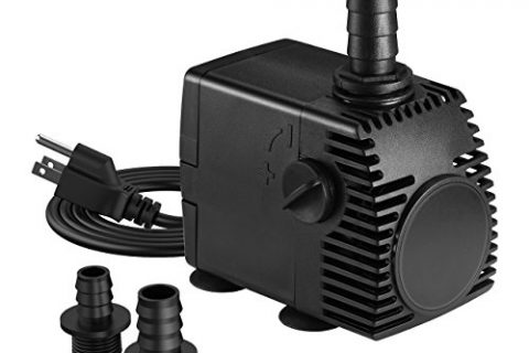 Homasy 320GPH 1200L/H, 22W Submersible Pump, Ultra Quiet Fountain Water Pump with 4.1ft Power Cord, 3 Nozzles for Aquarium, Fish Tank, Pond, Statuary, Hydroponics