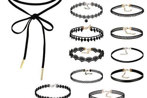 Choker Necklace, Xpatee Women Choker Necklace Set Black Velvet Lace Tattoo Choker Set Girls Stretch Necklace 16 PCS
