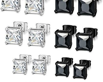 Jstyle 8 Pairs Mens Womens Stainless Steel Stud Earrings Cubic Zirconia Piercing 22G 3-6mm