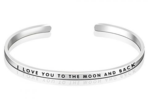 """YFN Sterling Silver """"I Love you to the Moon and Back"""" Cuff Bangle Bracelet Sizable 5″-7″ Sterling Silver"""