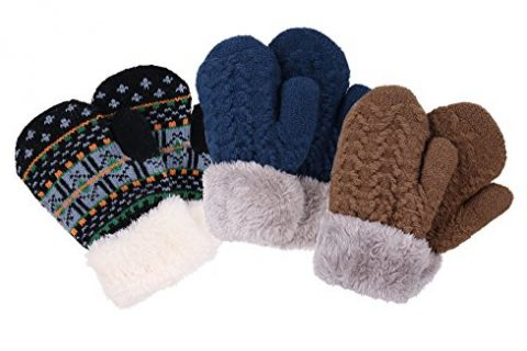 3 Pack Toddler Sherpa Lined Winter Knit Mitten Gloves, Color 12 for 2-5 Years
