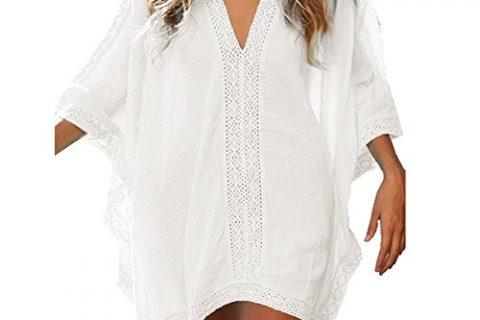 Chenghe Womens Roomy Cotton Beachwear Bikini Great Solid Oversized Coverage Cover Ups White