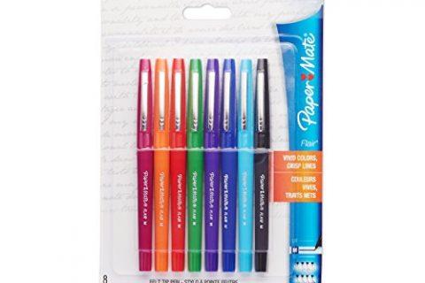 Paper Mate Flair Porous-Point Felt Tip Pen, Medium Tip, 8-Pack, Core Colors 74740PP