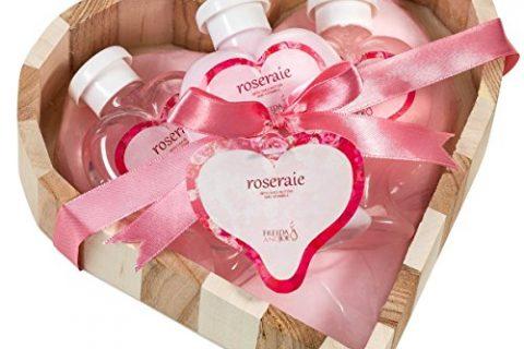 Pink Rose Bath and Body Gift Basket,shower gel ,bubble bath,body lotion displayed wood heart love basket!