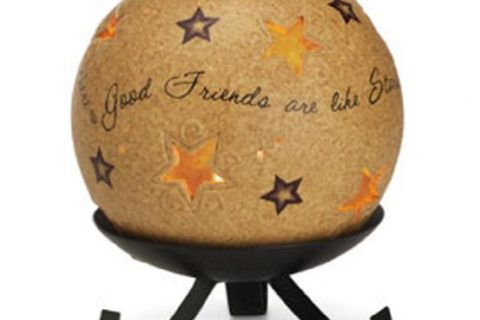 Pavilion Gift Company Comfort Candles 5-Inch Diameter Candle Holder Pierced with Stars, Good Friends