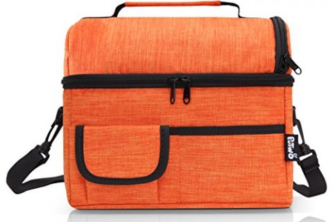 PuTwo Lunch Bag Insulated Large Capacity with YKK Zip Adjustable Shoulder Strap Lunch Bag – New Orange