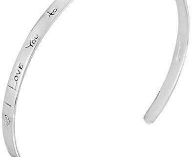 """Sterling Silver """"I Love You to the Moon and Back"""" Cuff Bracelet, 7″"""