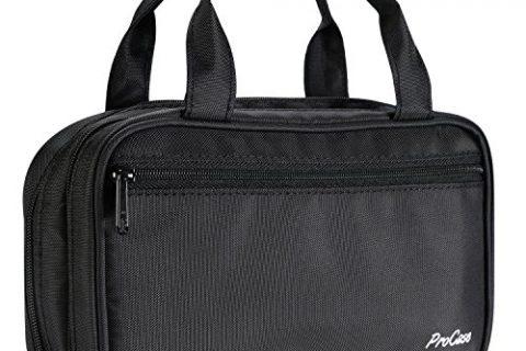 ProCase Portable Makeup Brush Holder Organizer Cosmetic Bag, Compact Makeup Handbag Pouch for Travel & Home –Black