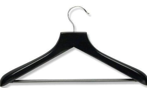 Honey-Can-Do HNGZ01524 Wood Wide Shoulder Suit Hangers, 2-Pack, Black