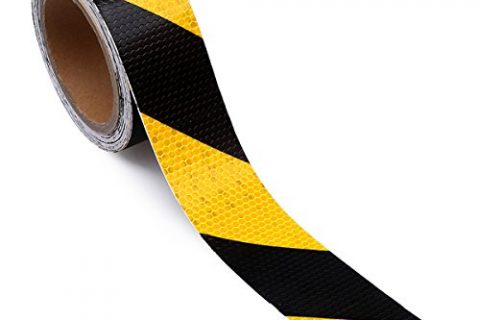 Waterproof Reflector Tape – Hazard Caution Tape – 2″ X 30 Feet Reflective Safety Tape Yellow Black