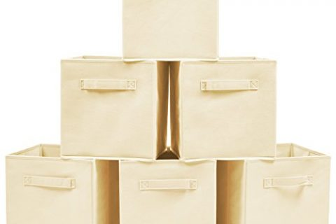 Set of 6 Foldable Fabric Basket Bin- EZOWare Collapsible Storage Cube For Nursery Home and Office – Beige
