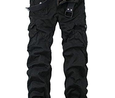OCHENTA Men's Cotton Washed Multi Pockets Military Cargo Pant #3380 Black 33