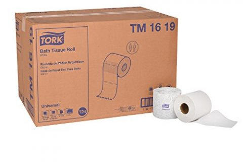 Tork Universal TM1619 Bath Tissue Roll, 2-Ply, 4″ Width x 3.75″ Length, White, Green Seal Certified Case of 96 Rolls, 500 Per Roll, 48,000 Sheets