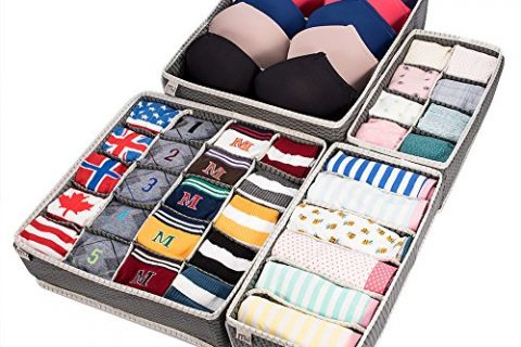 Closet Underwear Organizer Drawer Divider 4 Set by MIUCOLOR for Underwear, Bras, Socks, Ties, Scarves, Grey