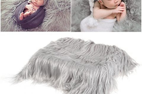 OULII Baby Photo Props Soft Fur Quilt Photographic Mat DIY Newborn Baby Photography Wrap-BAby Photo Props Favors Light Grey