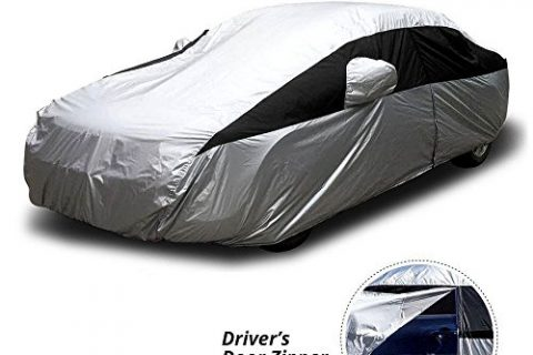Titan Lightweight Car Cover   Outdoor Waterproof Cover For Toyota Camry and More   Measures 200 Inches, Comes with 7 Foot Cable and Lock, and Features a Driver-Side Zippered Opening For Easy Access