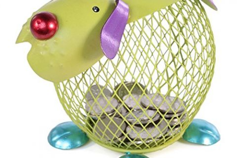 Tooarts Metal Puppy Money Bank Coin Holder Handicraft Animal Figurine Sculpture Home Decor