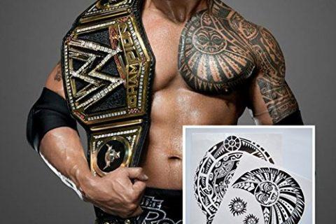 Kotbs 2 Pcs Large Dwayne Johnson Totem Tattoo Sticker Big Size Temporary Tattoos for Men 3D Rock Star Body Art Waterproof
