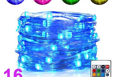 Boomile Waterproof String Lights Outdoor, 16ft 50 LEDs Fairy Lights Battery Operated 16 Colors String Lights with Remote Control LED Lights for Bedroom, Corridor, Patio, Garden, Yard