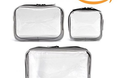 3 Pack Clear Cosmetics Makeup Bags, Waterproof Plastic Travel Toiletry Organizer Cases  Small Medium Large Size