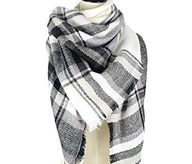 Zando Winter Fall Fashion Plaid Blanket Scarf Cozy Oversized Scarves Soft Warm Thick Shawl Wrap Scarfs for Women