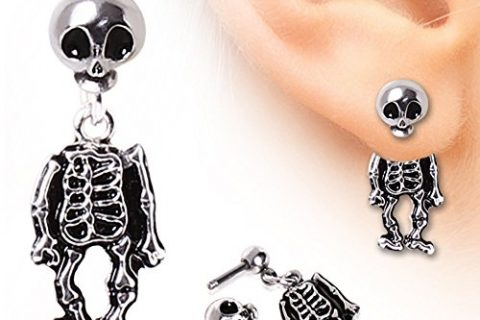 Skeleton Dangle Earring 316L Surgical Steel