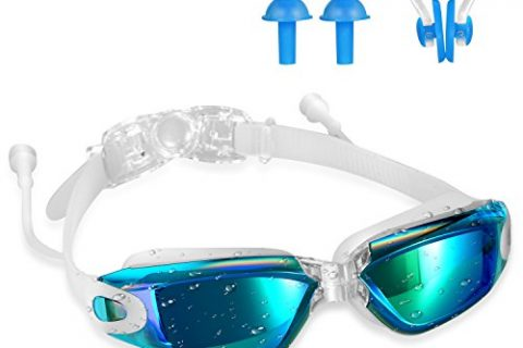 Swimming Goggles,Tenew Swimming Goggles with Ear Plugs and Nose Clip,UV400 Protection No Leaking Anti-Fog Lens with Adjustable Strap Blue