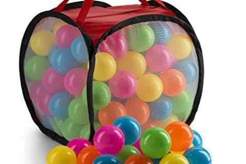 JaxoJoy 100 Pit Balls – Bulk Supply of Colorful, Crush Proof Plastic Balls for Ball Pit, Inflatable Jumper Tent, Swimming Pool & More – Non Toxic & BPA Free – FREE Storage Case