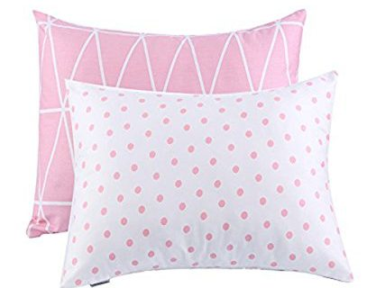Kids Toddler Pillowcases UOMNY 2 Pack 100% Cotton Pillow Cover Cases13 x 18″ for Kids Bedding Pink Link/Dot