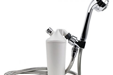 Aquasana Deluxe Shower Water Filter System with 5′ Wand Premium Massaging Shower Head, Chrome