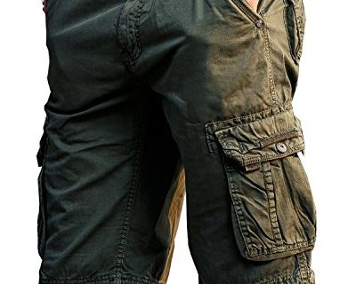 JoJoJoy Men's Casual Loose Fit Cargo Shorts, Straight Multi-Pocket Cotton Outdoor Wear Atrovirens Size 40