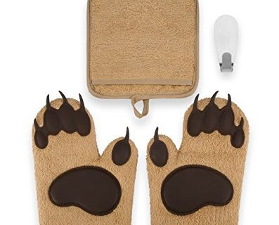 Includes 2 Bear Paw Silicone Padded Oven Gloves, 1 Terry Cloth Pot Holder & Free Self Adhesive Hook – Heat Resistant Oven Mitts & Pot Holder Kitchen Set by Toem