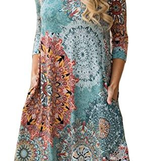 ETCYY Women's Long Sleeve Floral Printed Casual Swing T-shirt Dress With Pockets Flower, Medium