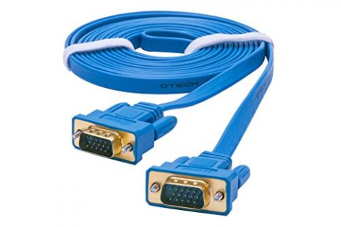 DTECH Ultra Slim Flat Computer Monitor VGA Cable 15 Feet in Blue 5m