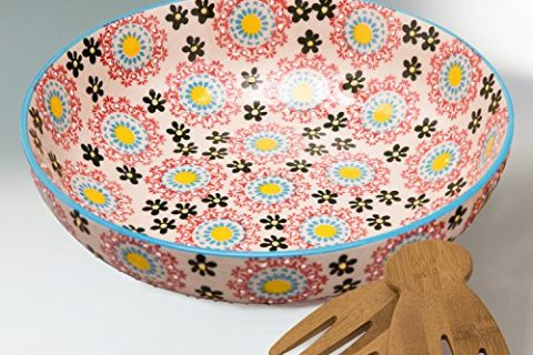 Large Salad Bowl Platter Set with 2 Serving Hands, 78 Ounce Stoneware, Embossed Floral Design, Multicolor