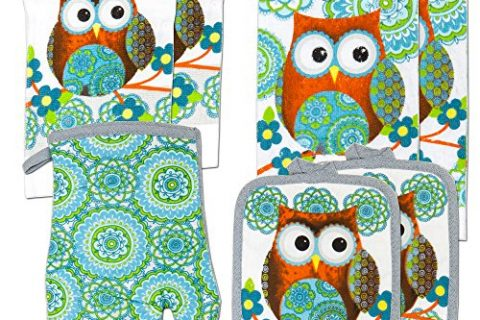 Kitchen Towel Linen Set of 7 Pieces Owl Design Turquoise Blue & Green Modern | 2 Kitchen Towels 2 Potholders, 1 Oven Mitt and 2 Dishcloth Turquoise