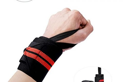 Pretty See Adjustable Wrist Wraps Stretchy Compression Support Brace Hand Brace Crossfit ,1 Pairs ,Red