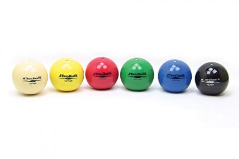 TheraBand Soft Weight, 4.5″ Diameter Hand Held Ball Shaped Isotonic Weighted Ball for Isometric Workouts, Strength Training & Rehab Exercises, Shoulder Strengthening, Set of 6 Assorted Weights