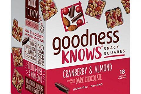 goodnessKNOWS Cranberry, Almond & Dark Chocolate Gluten Free Snacks Square Bars 18-Count Box