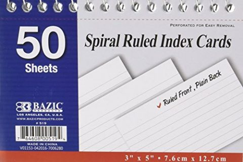 50 Ct. Pack of 6 – Spiral Bound 3 Inch X 5 Inch Ruled White Index Card