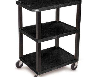 Luxor WT34S 3 Shelves Tuffy Utility Cart – Black